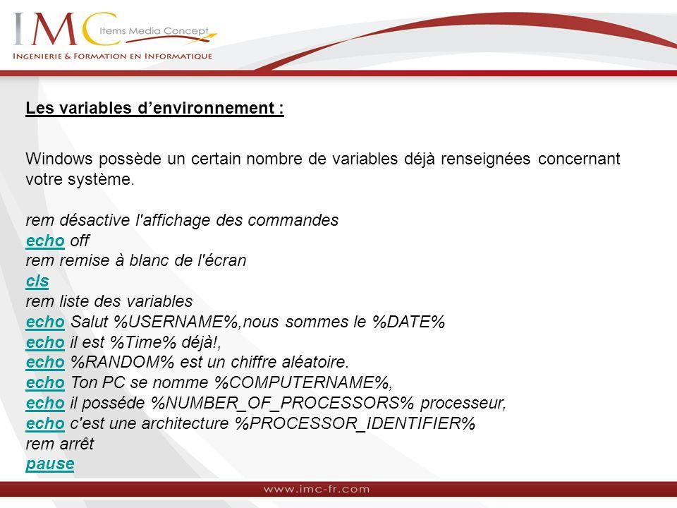 Les variables d'environnement :