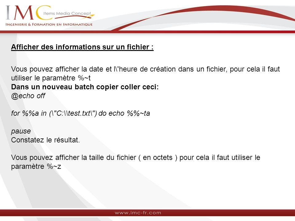 Afficher des informations sur un fichier :
