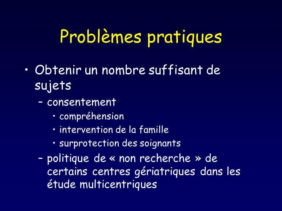 Problèmes pratiques Obtenir un nombre suffisant de sujets consentement