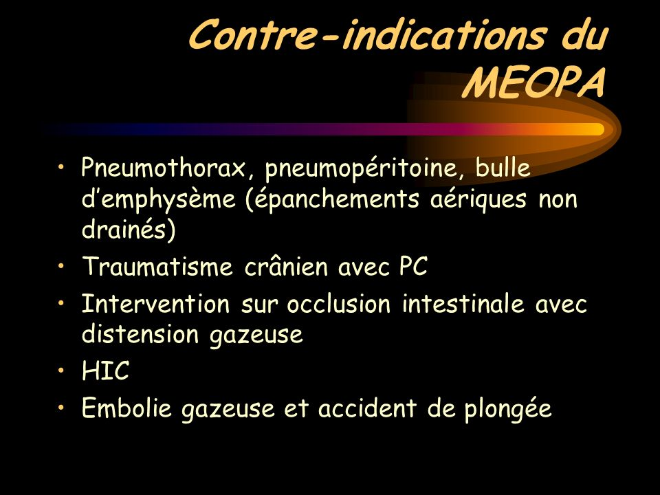 Contre-indications du MEOPA