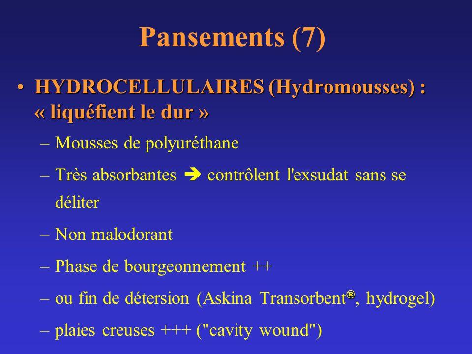 Pansements (7) HYDROCELLULAIRES (Hydromousses) : « liquéfient le dur »