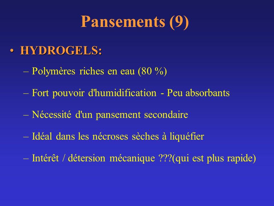 Pansements (9) HYDROGELS: Polymères riches en eau (80 %)