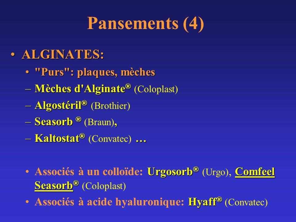 Pansements (4) ALGINATES: Purs : plaques, mèches