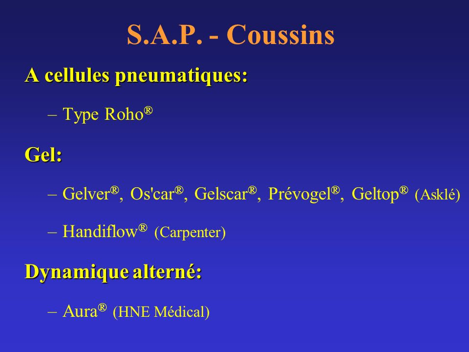 S.A.P. - Coussins A cellules pneumatiques: Gel: Dynamique alterné: