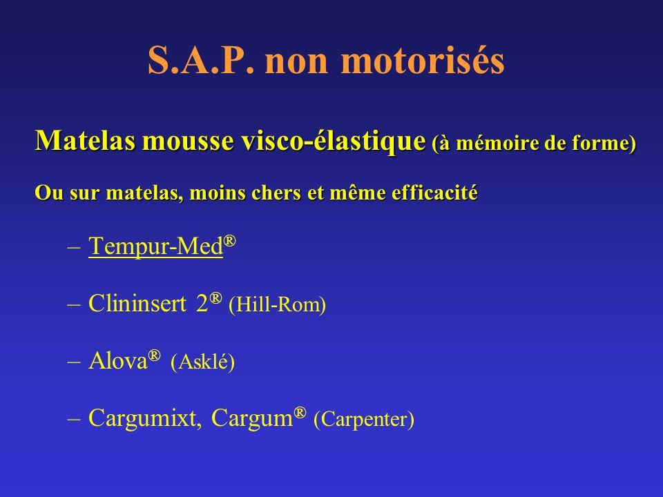 S.A.P. non motorisés Matelas mousse visco-élastique (à mémoire de forme) Ou sur matelas, moins chers et même efficacité.
