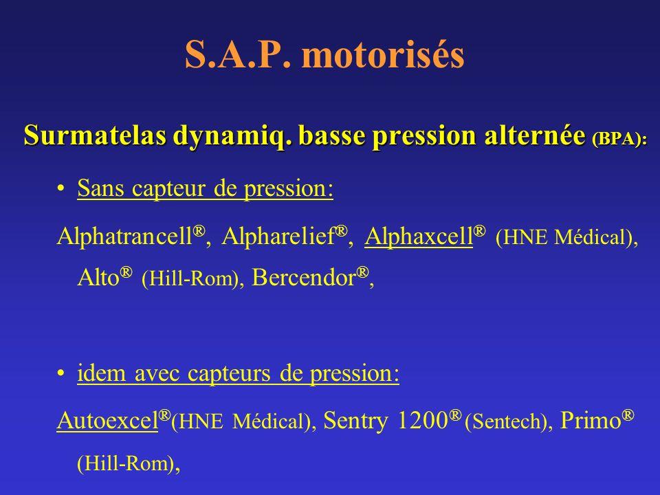 S.A.P. motorisés Surmatelas dynamiq. basse pression alternée (BPA):