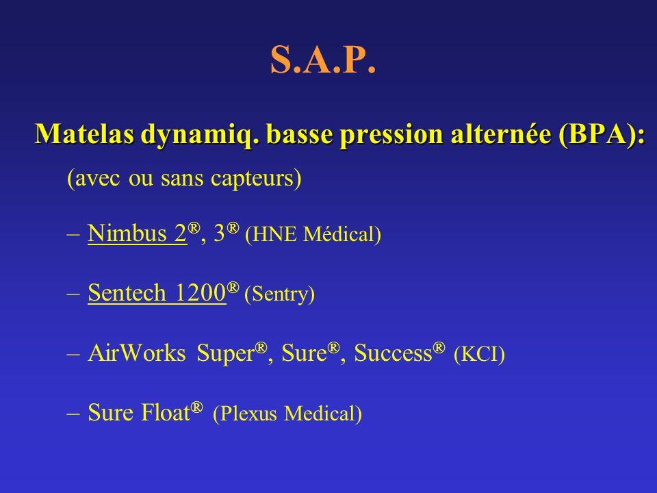 S.A.P. Matelas dynamiq. basse pression alternée (BPA):
