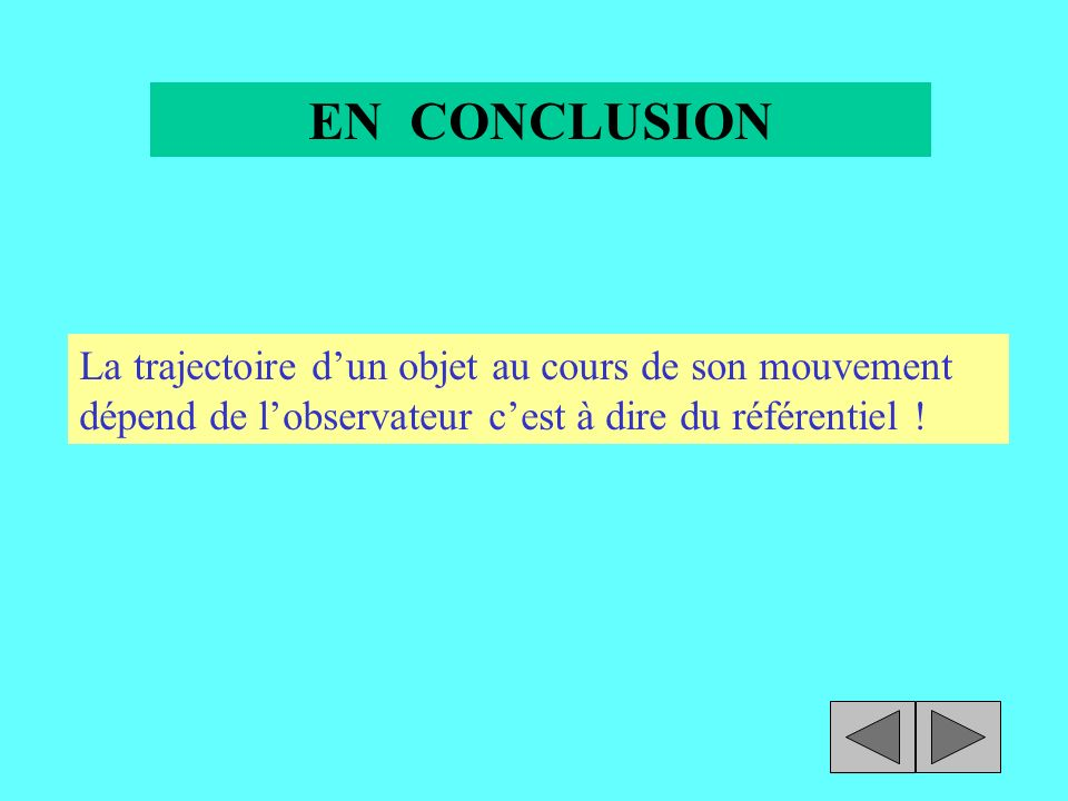 EN CONCLUSION La trajectoire d'un objet au cours de son mouvement dépend de l'observateur c'est à dire du référentiel !