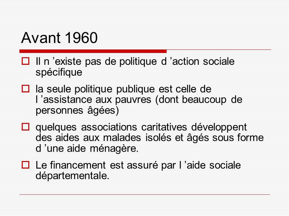 Avant 1960 Il n 'existe pas de politique d 'action sociale spécifique