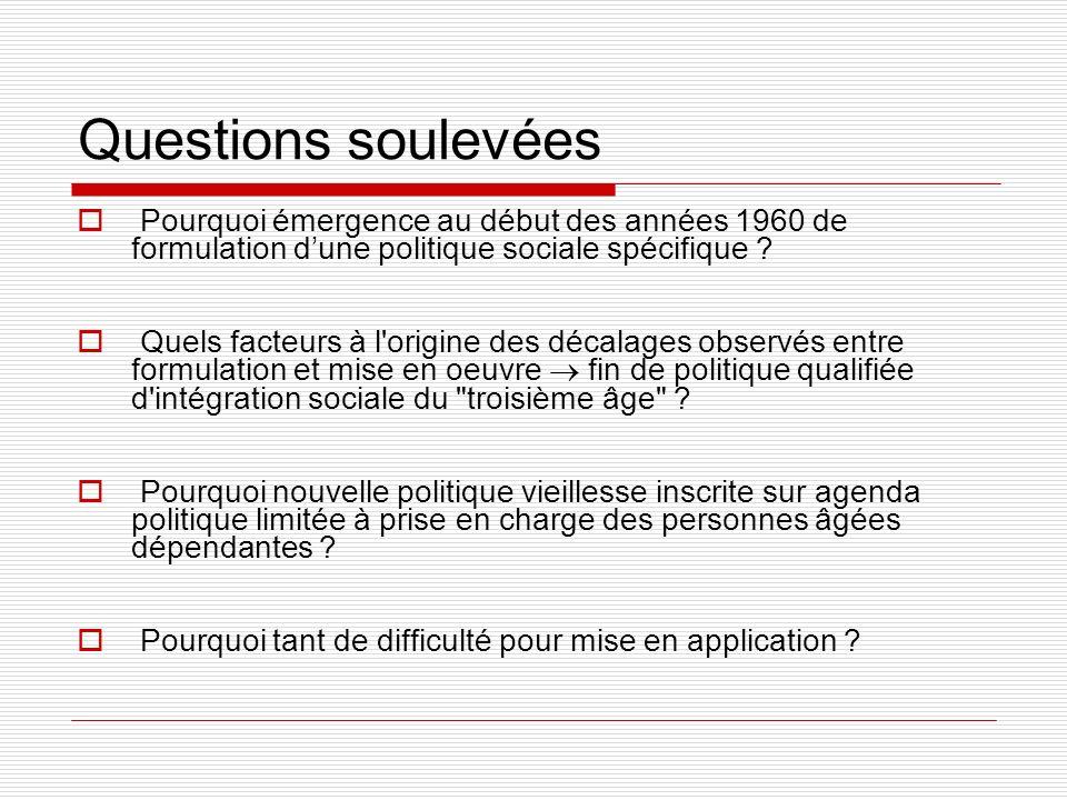 Questions soulevées Pourquoi émergence au début des années 1960 de formulation d'une politique sociale spécifique