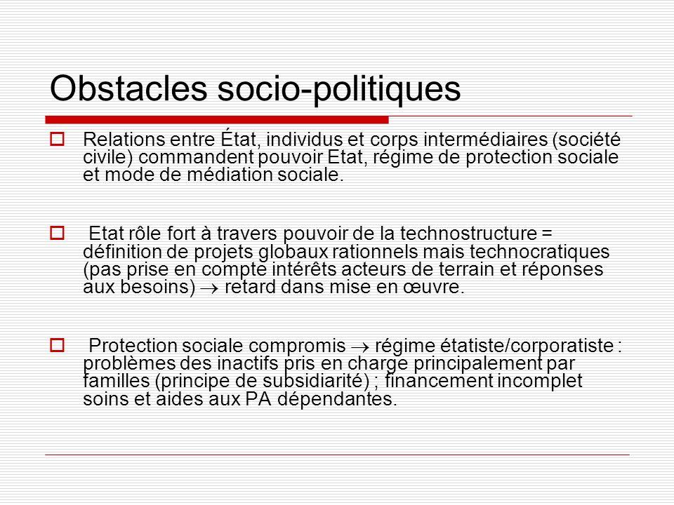 Obstacles socio-politiques
