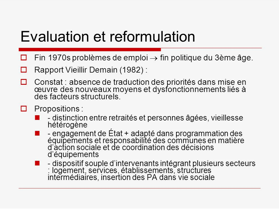 Evaluation et reformulation