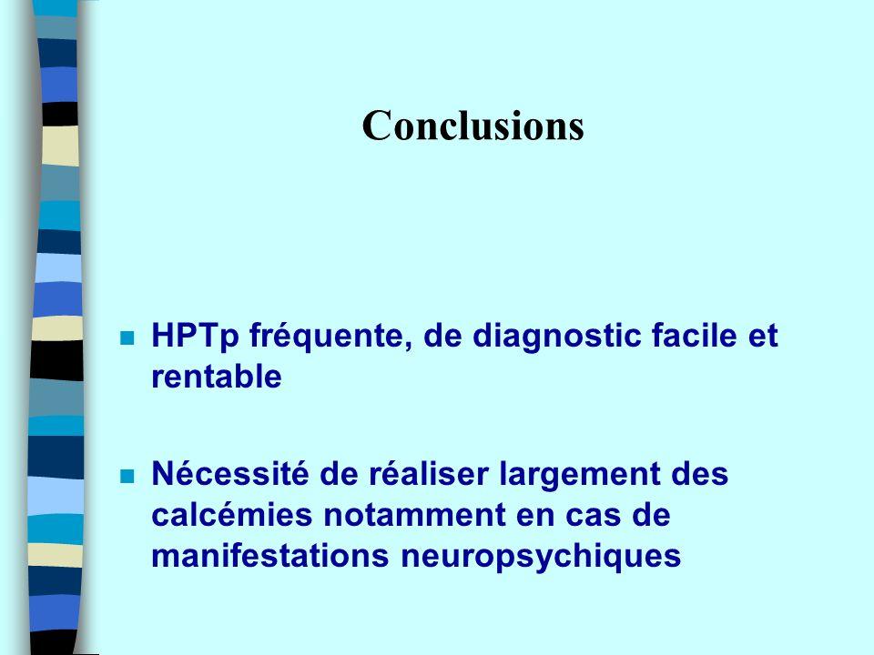 Conclusions HPTp fréquente, de diagnostic facile et rentable