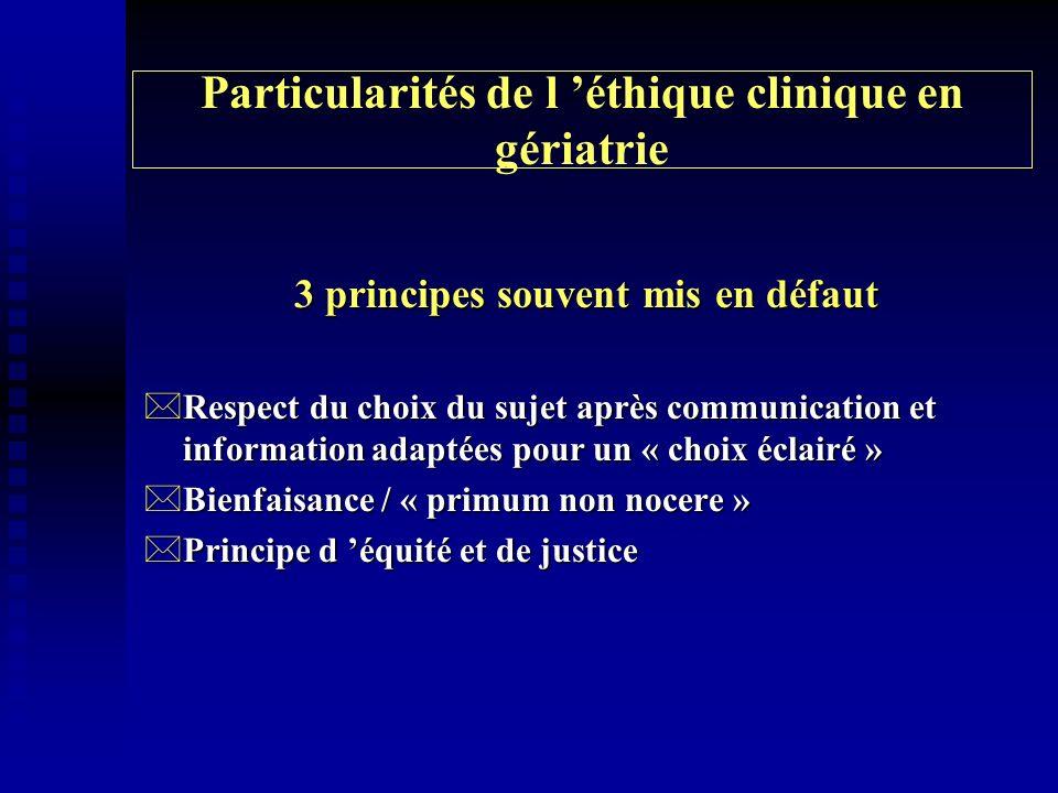 Particularités de l 'éthique clinique en gériatrie