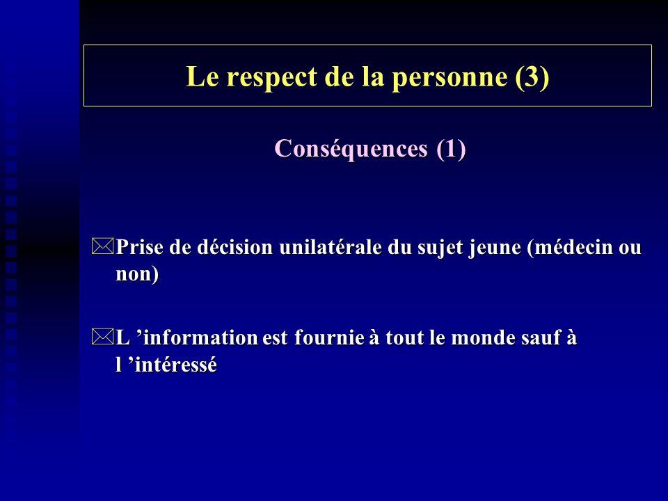 Le respect de la personne (3)