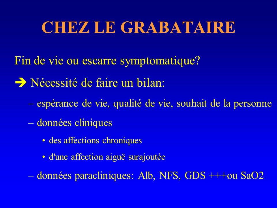 CHEZ LE GRABATAIRE Fin de vie ou escarre symptomatique
