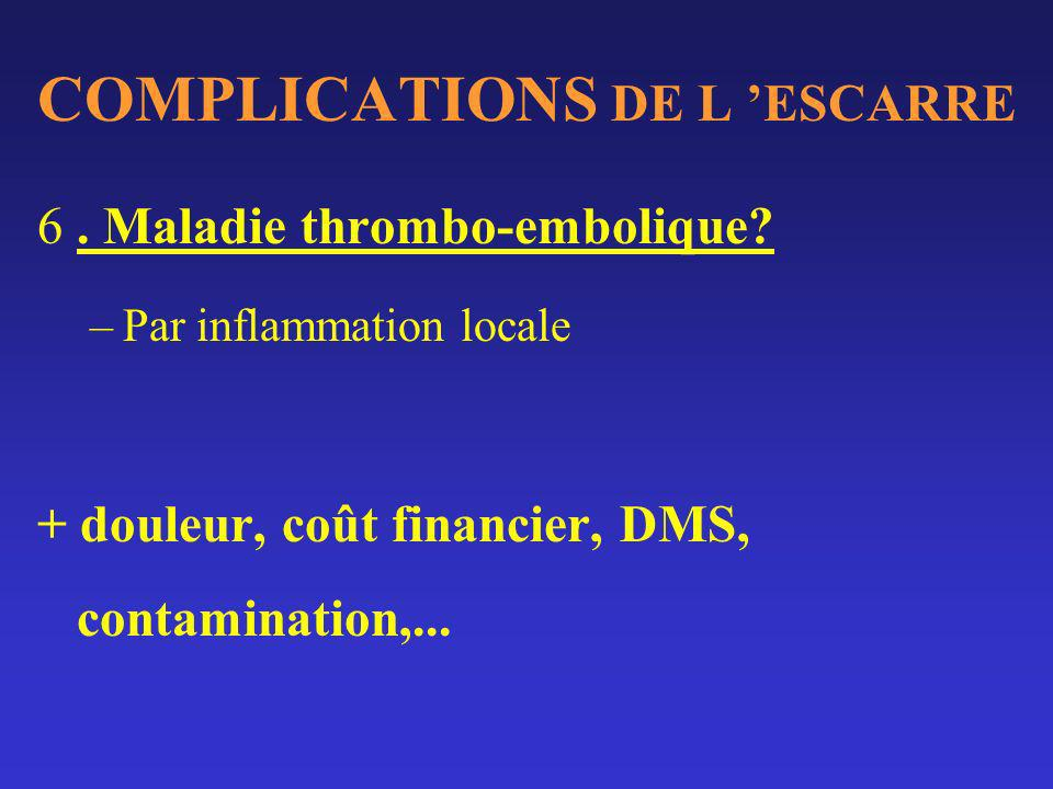 COMPLICATIONS DE L 'ESCARRE