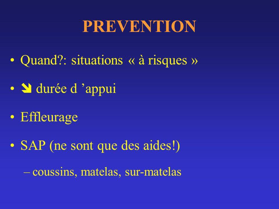 PREVENTION Quand : situations « à risques »  durée d 'appui