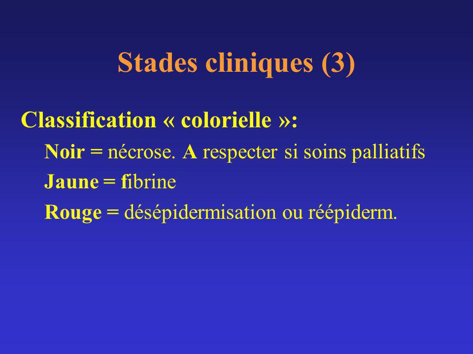 Stades cliniques (3) Classification « colorielle »: