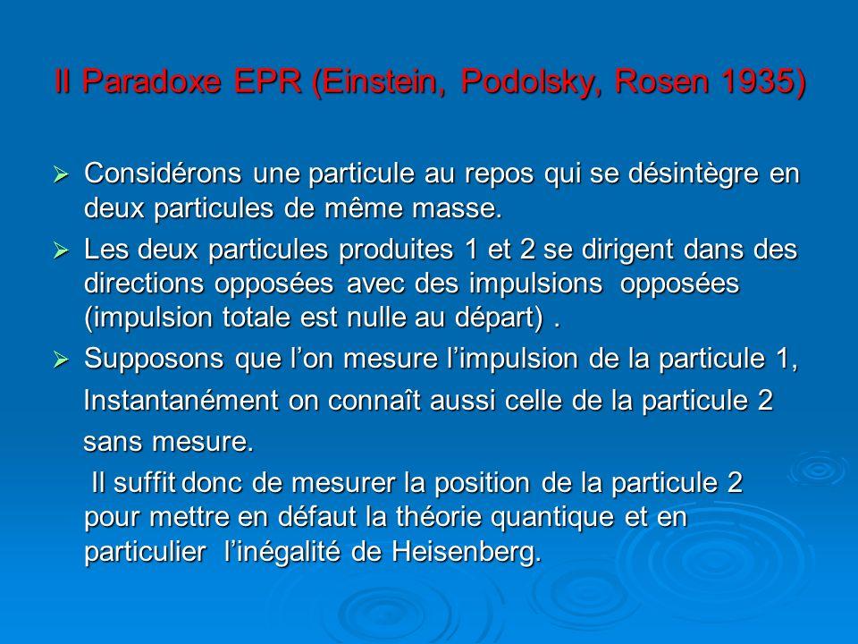 II Paradoxe EPR (Einstein, Podolsky, Rosen 1935)