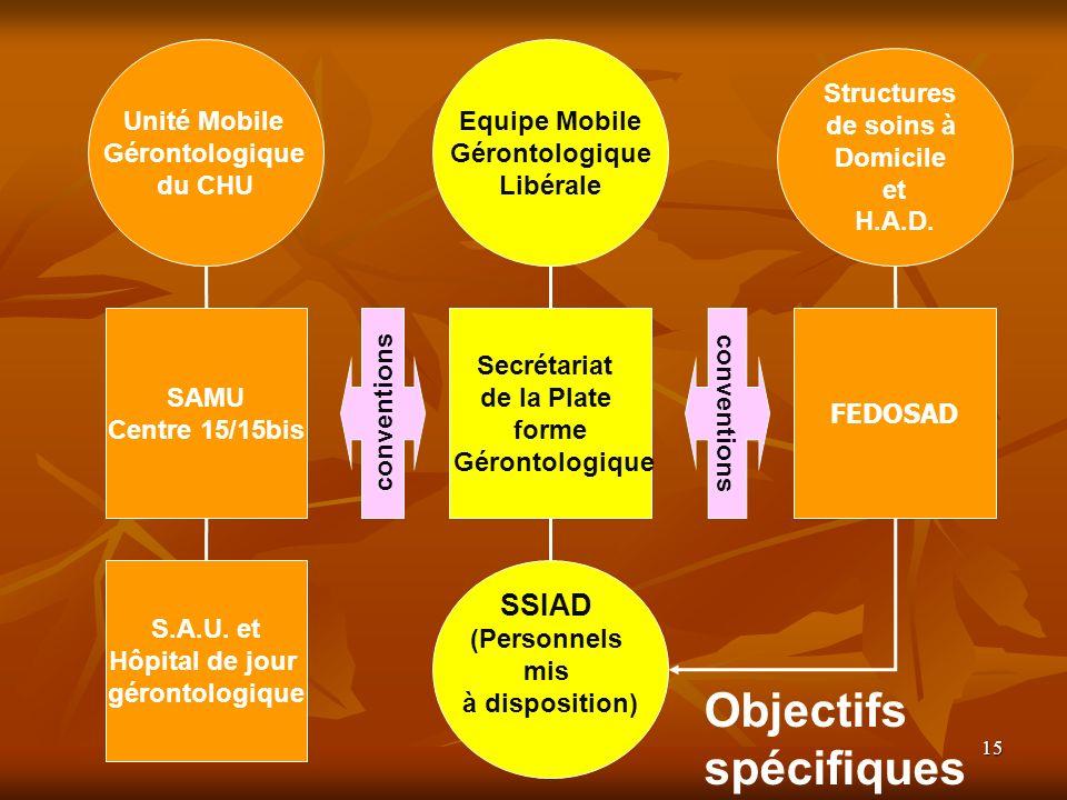 Objectifs spécifiques SSIAD Unité Mobile Gérontologique du CHU