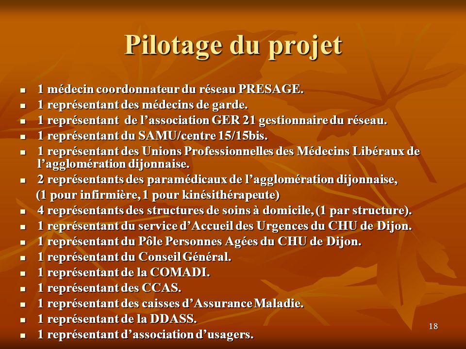 Pilotage du projet 1 médecin coordonnateur du réseau PRESAGE.