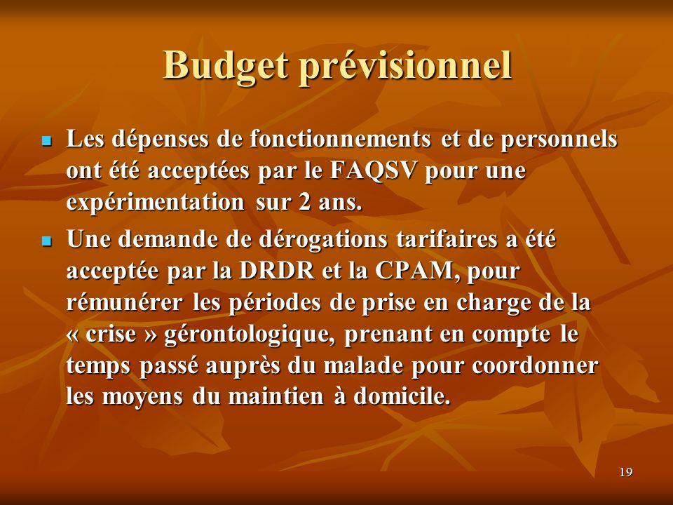 Budget prévisionnel Les dépenses de fonctionnements et de personnels ont été acceptées par le FAQSV pour une expérimentation sur 2 ans.