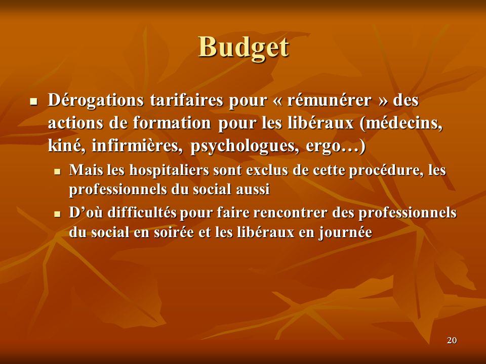 Budget Dérogations tarifaires pour « rémunérer » des actions de formation pour les libéraux (médecins, kiné, infirmières, psychologues, ergo…)
