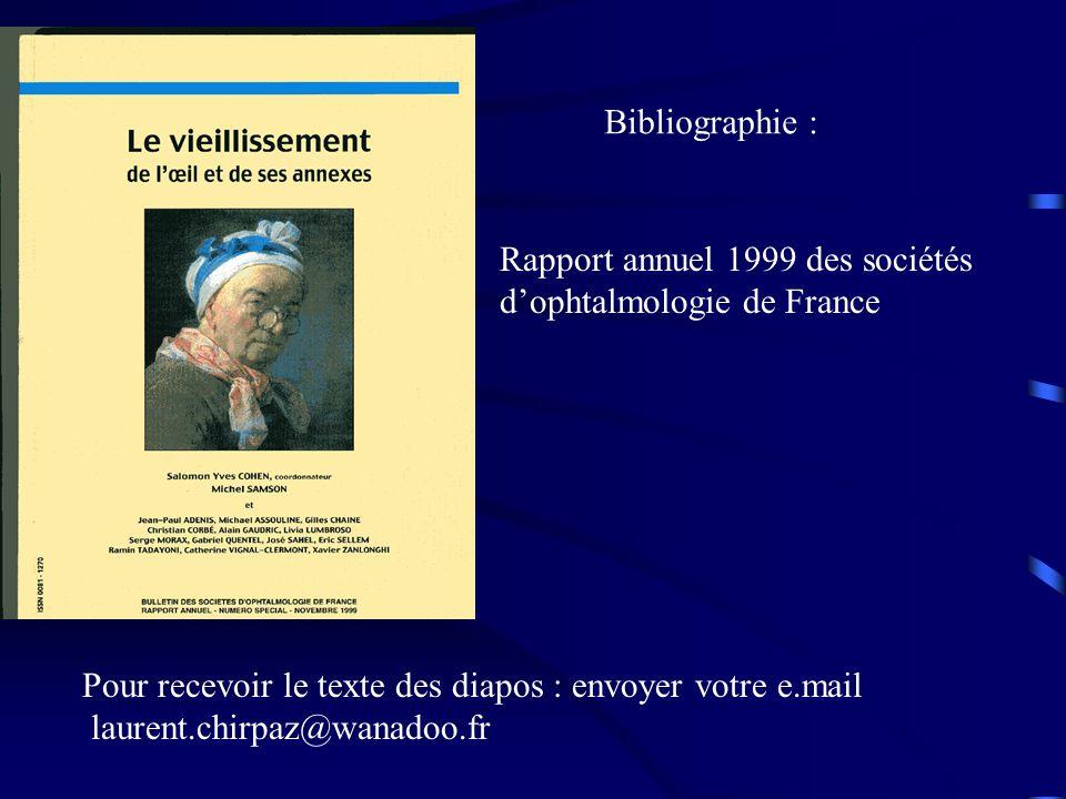 Bibliographie : Rapport annuel 1999 des sociétés. d'ophtalmologie de France. Pour recevoir le texte des diapos : envoyer votre e.mail.