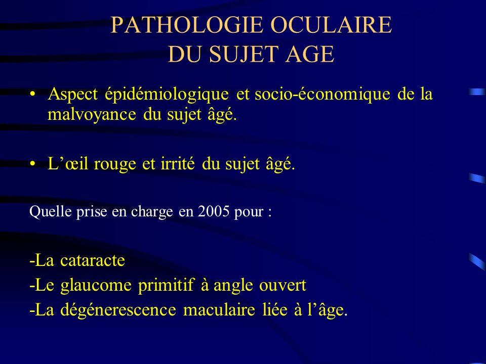 PATHOLOGIE OCULAIRE DU SUJET AGE