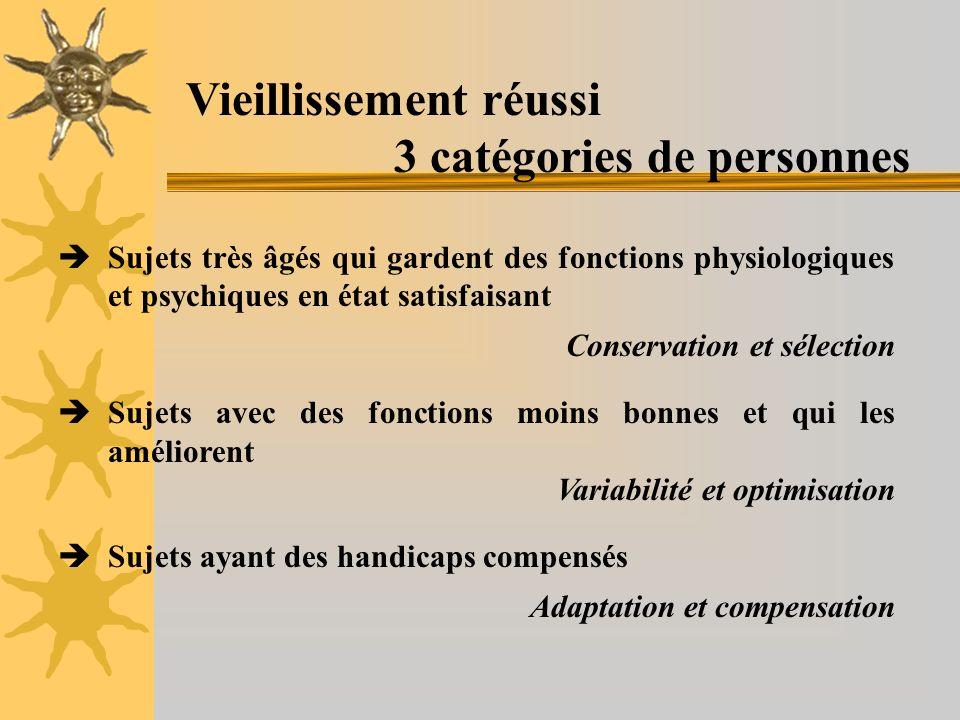 Vieillissement réussi 3 catégories de personnes