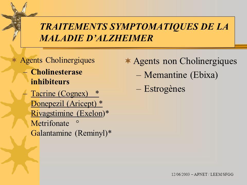 TRAITEMENTS SYMPTOMATIQUES DE LA MALADIE D'ALZHEIMER