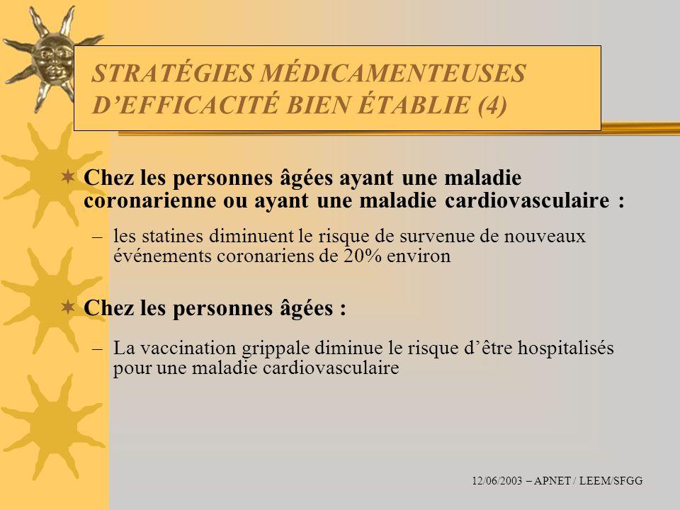 STRATÉGIES MÉDICAMENTEUSES D'EFFICACITÉ BIEN ÉTABLIE (4)