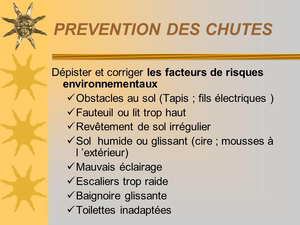 PREVENTION DES CHUTES Dépister et corriger les facteurs de risques environnementaux. Obstacles au sol (Tapis ; fils électriques )