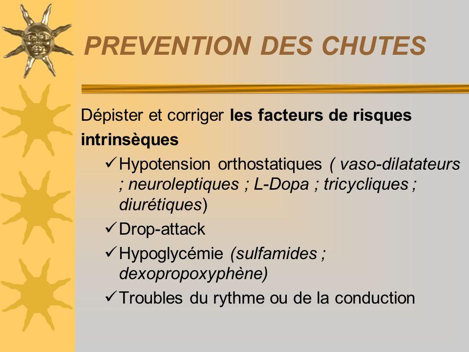 PREVENTION DES CHUTES Dépister et corriger les facteurs de risques