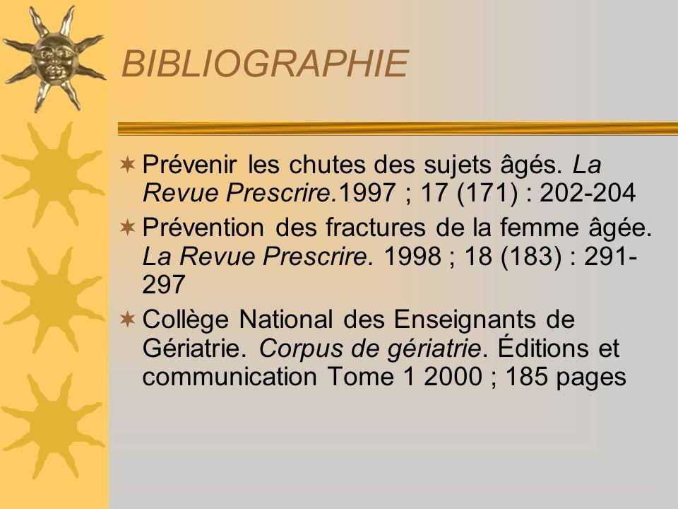 BIBLIOGRAPHIE Prévenir les chutes des sujets âgés. La Revue Prescrire.1997 ; 17 (171) : 202-204.