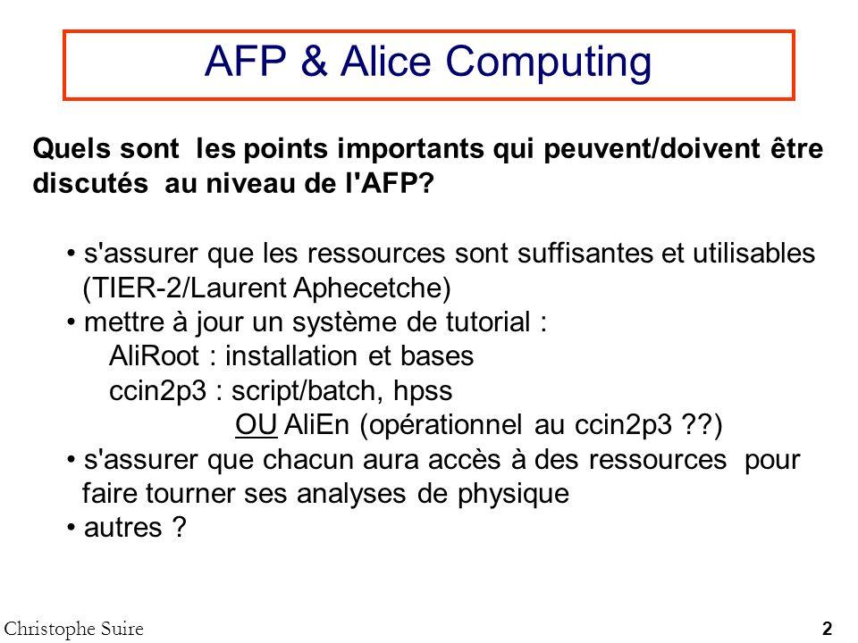 AFP & Alice Computing Quels sont les points importants qui peuvent/doivent être. discutés au niveau de l AFP