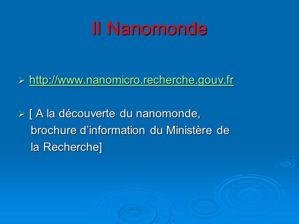 II Nanomonde http://www.nanomicro.recherche.gouv.fr