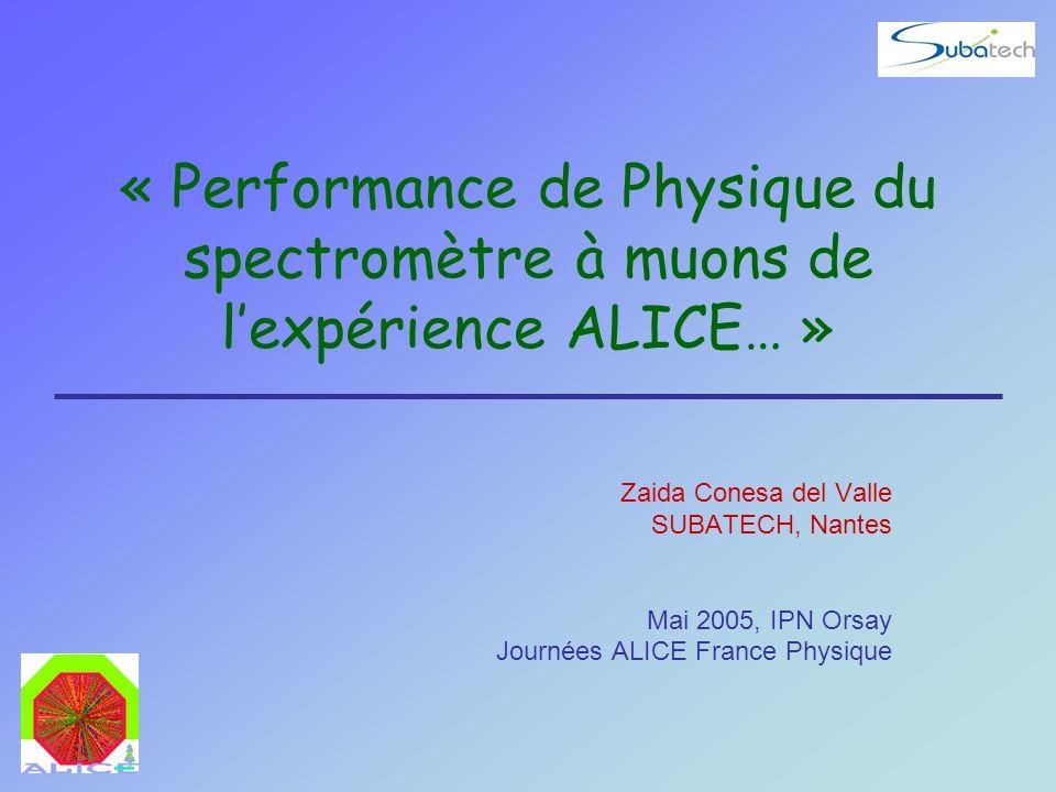 « Performance de Physique du spectromètre à muons de l'expérience ALICE… »