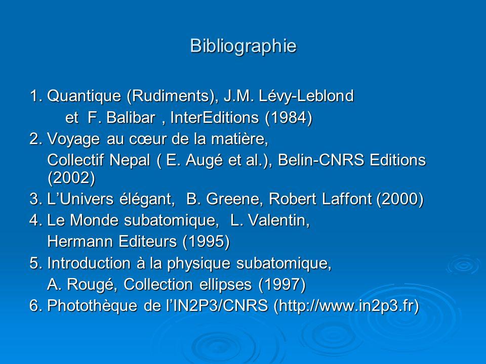 Bibliographie 1. Quantique (Rudiments), J.M. Lévy-Leblond