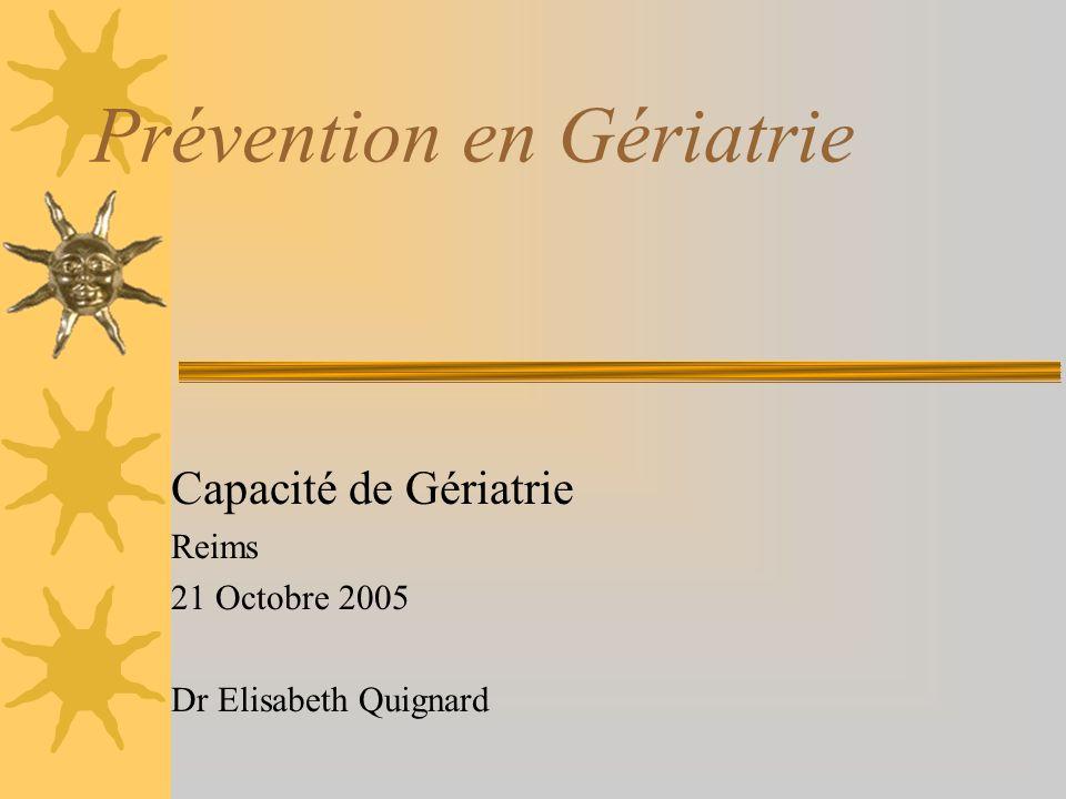 Prévention en Gériatrie