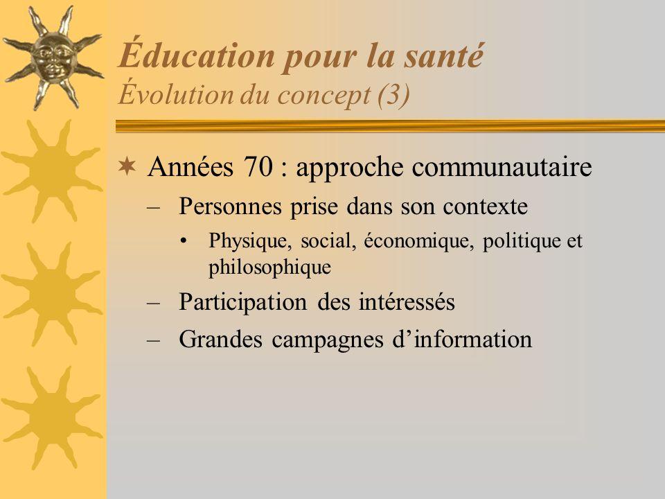 Éducation pour la santé Évolution du concept (3)