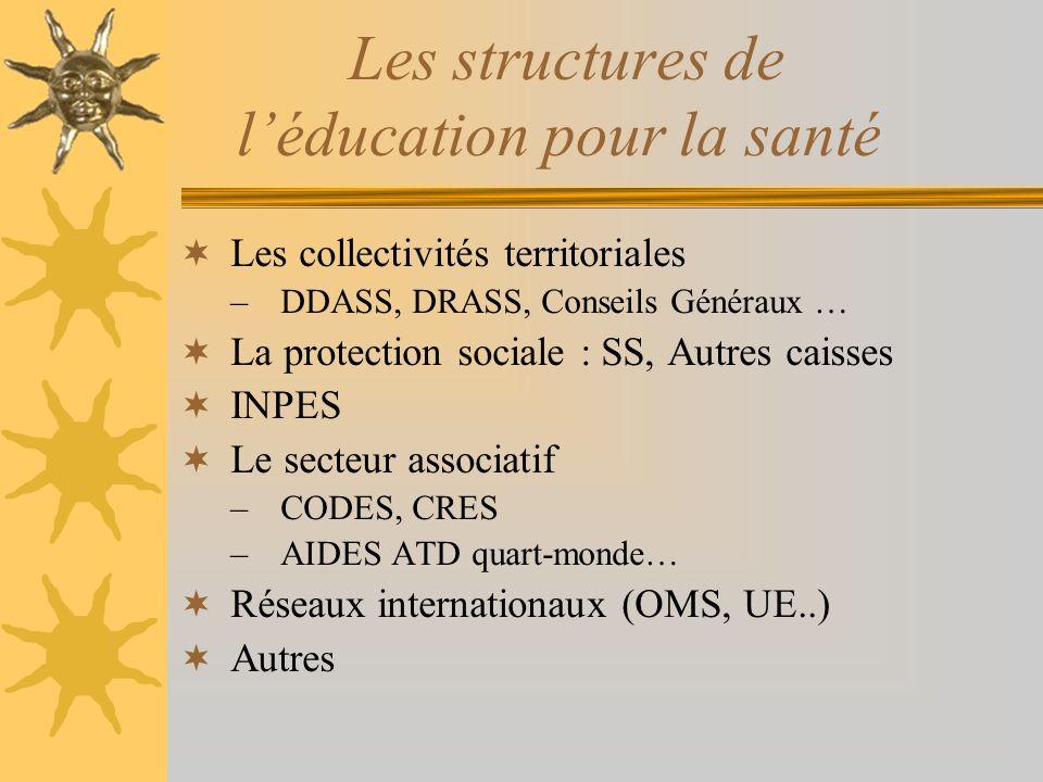 Les structures de l'éducation pour la santé