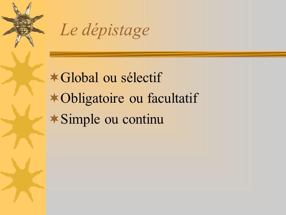 Le dépistage Global ou sélectif Obligatoire ou facultatif