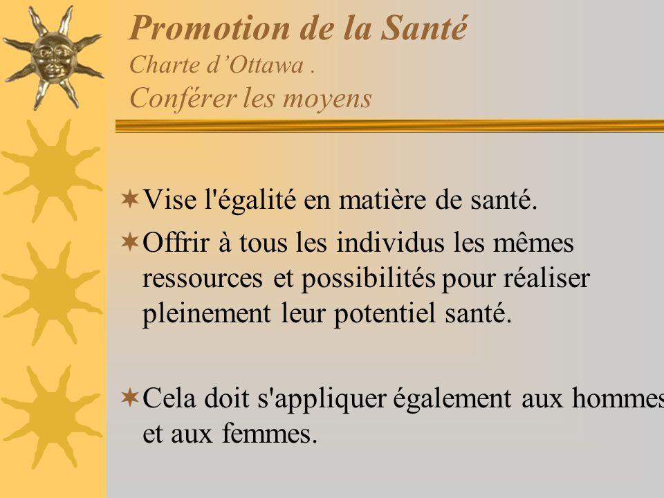 Promotion de la Santé Charte d'Ottawa . Conférer les moyens