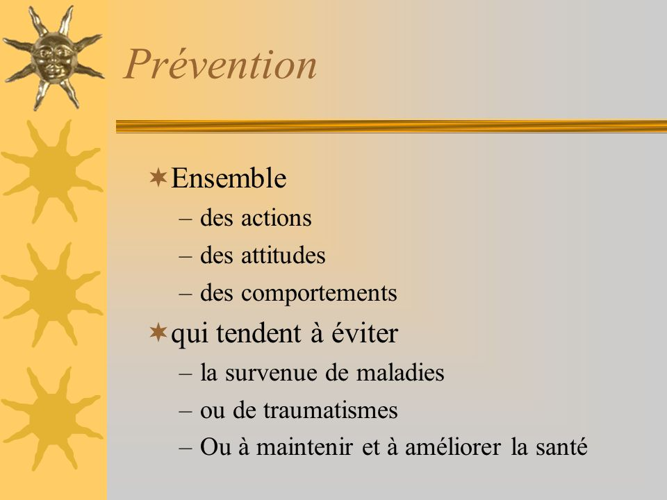 Prévention Ensemble qui tendent à éviter des actions des attitudes