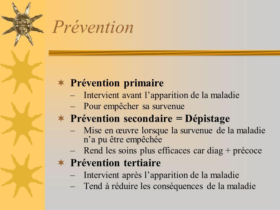 Prévention Prévention primaire Prévention secondaire = Dépistage