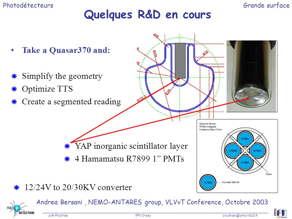 Quelques R&D en cours Take a Quasar370 and: Simplify the geometry