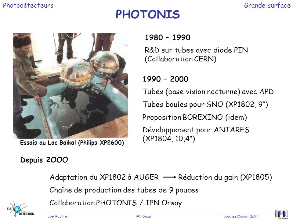 PHOTONIS 1980 – 1990 R&D sur tubes avec diode PIN (Collaboration CERN)