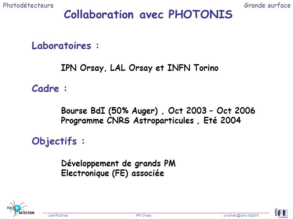 Collaboration avec PHOTONIS